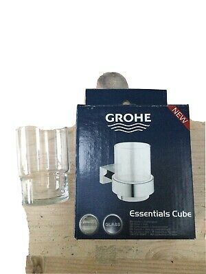 Grohe 40755001 Essentials Cube Glass Holder With Glass & Spare Glass - Silver • 40£