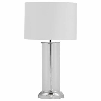 £29.99 • Buy Modern Touch Control Glass Column 53cm Table Lamp Bedside Light White Shade