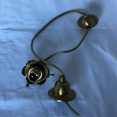 Vintage Brass Ceiling Rose With Central Globe & Glass Lamp Shade Gallery Fitting • 20£