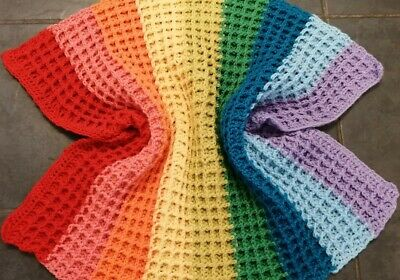 Lovely Handmade Rainbow Crochet Baby Blanket 26  X 28  Approx • 5.79£