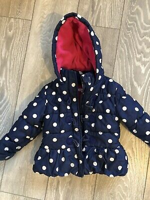 Debenhams Blue Zoo Girl's Coat Navy With White Spots Size 3-4 • 2£