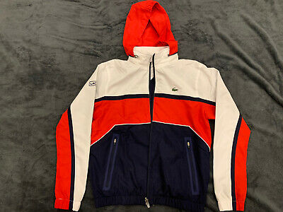 Boys LACOSTE Zip Up Hoodie Tracksuit Top Age 12 Years Blue, Red & White • 3.20£