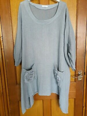 'made In Italy' Lagenlook Style Tunic  Quirky Oversized Grey • 9.50£