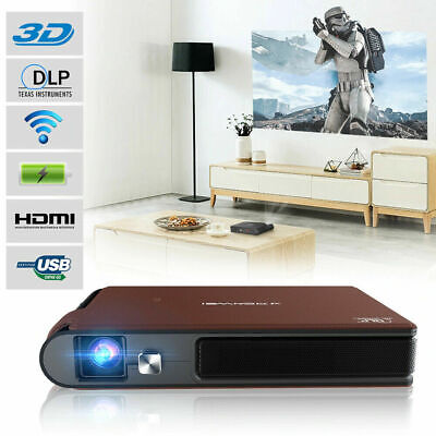 Mini 3D WIFI Home Cinema Projector LED DLP HD 1080p Movie Airplay For IPhone IOS • 305.54£