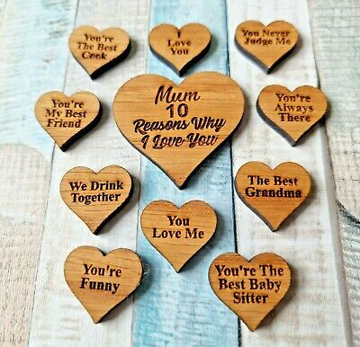 Personalised Mothers Day Quote Messages 10 Reasons Why I Love You Wooden Tags • 3.99£