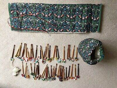 Collection Of 51 Lace Making Bobbins, In A Mary Allen Patterned Fabric Bag • 9£