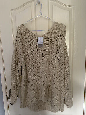 BNWT Oatmeal Cable Knit Off The Shoulder Sweater Jumper Size 20  • 3.70£