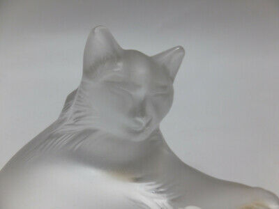 Lalique Happy Cat Art Glass Crystal Paperweight Sculpture No. 1179500. Retired. • 125£