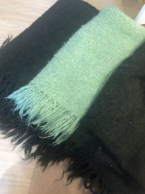Set Of Three Mohair Mix Throws / Blankets • 1.50£