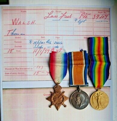 Ww1 14-15 Star/ British War/victory Medals/badges Sjt Walsh Lancashire Fusiliers • 95£