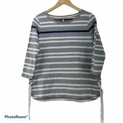 Vintage Grey And White Striped Top With 3/4 Sleeves And Tie Up String Sides • 4.99£