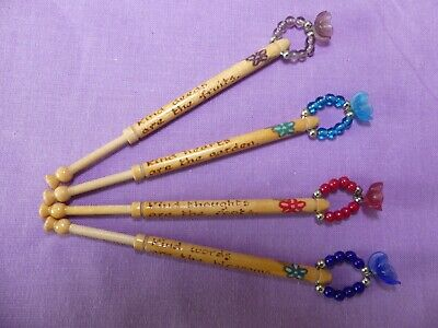 Lacemaking Bobbins With Flower Spangles And Verse On Shanks. • 5£