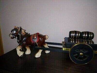 Pottery Shire Horse With Harness, Cart And Barrels • 12£