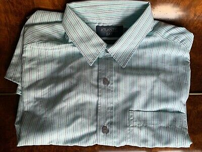 Atlantic Bay  BHS  Short Sleeved Turquoise Striped Shirt M • 9£