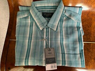 BHS Atlantic Bay Gents Short Sleeved Shirt Size M, Turquoise Striped • 9£