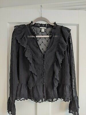 Black H&M Blouse Lace Style Material • 1.50£