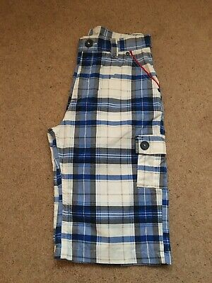 """£5.50 • Buy """"PETER STORM"""" Boys Checked Shorts. (11-12 Years) - Blue/White."""