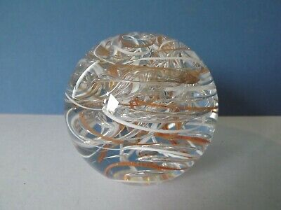 Langham Glass  Paperweight ~ Clear With White And Gold Swirls • 15.90£