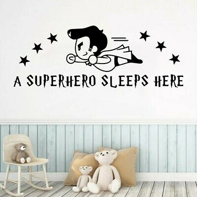 A Superhero Sleeps Here Wall Stickers For Kids Room Decoration Accessories... • 7.30£