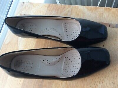 Rockport Black Patent Leather Court Shoes Sz 6.5 Cushion Insole Look New • 4£
