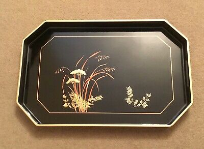 """Lovely Vintage Black Lacquer Tray 19"""" X 12"""" • 14.99£"""