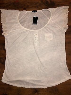 Ladies BNWT MATALAN PAPAYA Size 20 White Cotton Short Sleeve Top • 1.99£