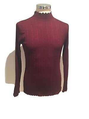 Ladies Matalan Size 16 Ribbed Polo Neck Wine Coloured • 5£