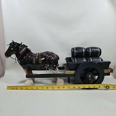 Large Vintage Pottery Shire Horse And Barrel Cart Ornament Figure . • 15£