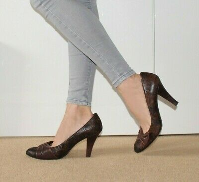 £22.99 • Buy Audley London Court Shoes 6.5 High Heel Brown Print Party Evening 39.5 UK 6 1/2