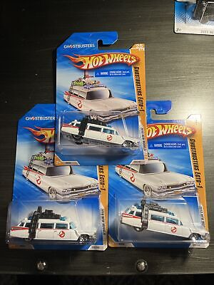 NEW Mint Sealed Lot Of 3 Ghostbusters Ecto-1 Hot Wheels Cars 2010 Model Diecast • 15.85£