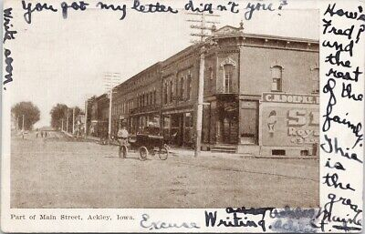$ CDN12.49 • Buy Ackley IA Main Street Man Wagon C1907 Litho Postcard G75 *as Is