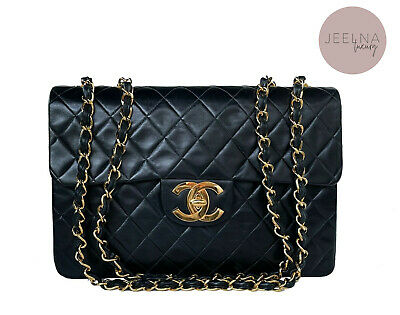 £3954.98 • Buy Auth Chanel Vintage 13  XL Maxi Classic Jumbo Bag 24k Gold Plated HW