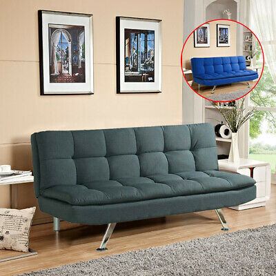 Padded Sofa Bed Fabric 3 Seater Padded Sofabed Suite Chrome Leg Cube Design New • 159.99£