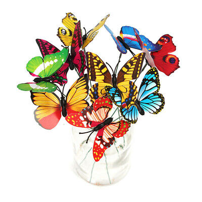 50/100pcs Colorful Garden Butterflies Stakes Patio Home Ornaments On Sticks Lawn • 9.99£