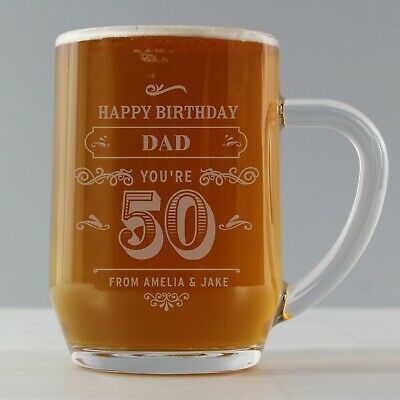 Personalised Vintage Tankard Glass Birthday Gift Dad 18th 21st 30th 40th 50th • 10.99£