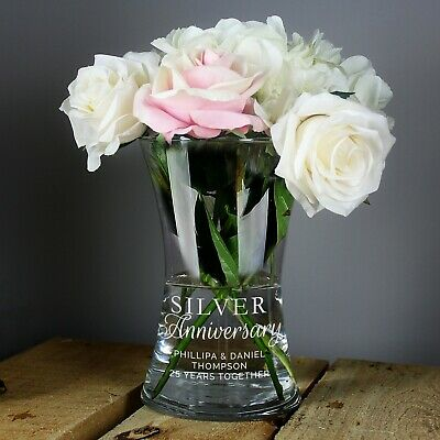 £19.99 • Buy Personalised Silver Glass Vase For 25th Wedding Anniversary Gift Idea Couple