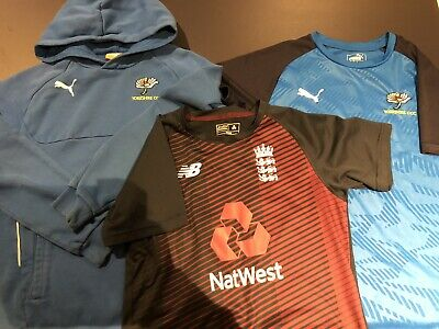 ENGLAND YORKSHIRE Cricket 3 Piece T-shirt Hoodie Bundle 10-12yrs • 5.30£