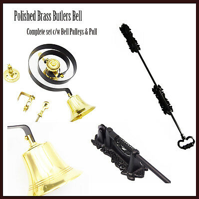 Butlers Bell And Black Cast Sprung Pull Polished Brass Servants Bell Kit BH1005 • 72£