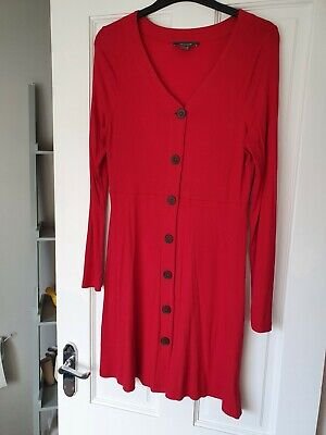 Ladies Longline Red Top / Buttoned Front Dress Size 16 • 0.99£