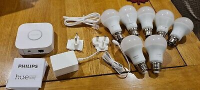 AU144.47 • Buy Philips Hue Bridge V2.1 Bundle  Job Lot 7 Hue White Bulbs (5 X B22, 2 X E27)