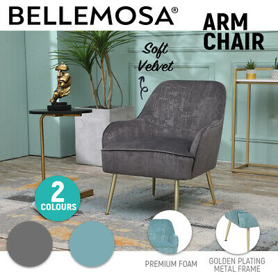AU169.99 • Buy BELLEMOSA Accent Chair Furniture Sofa Seat Lounge Velvet For Bedroom Living Room