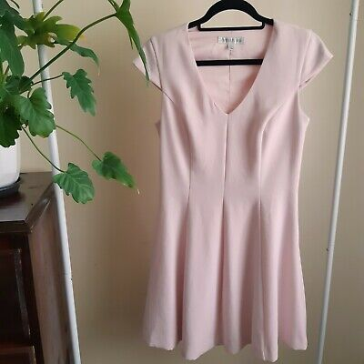 AU20 • Buy Forever New Dress 10 Pale Baby Pink Blush A-line V Neck Cap Sleeve Mid Thigh