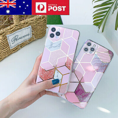 AU6.68 • Buy Marble Case For IPhone 11 12 Pro Max Shockproof Bling Glitter Hard Cover