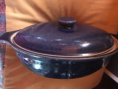 Vintage Rare Blue Denby 1 3/4 Pint 2 Handled  Casserole Dish With Lid Excellent • 29.99£