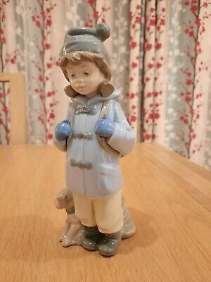 Nao By Lladro Figurine- Standing Girl With Satchell And Dog • 12.50£