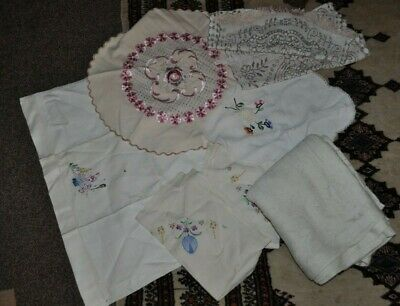 Bundle Of Embroidered Cloth, Cushion Cover And Lace Tablecloth • 5£