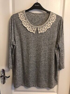 George Size 20 Grey Mix Top With Mock Lace Collar & 3/4 Sleeves • 1.95£