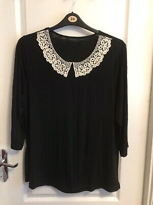 George Size 20 Black Top With Mock Lace Collar & 3/4 Sleeves • 2.20£