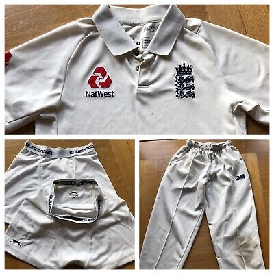 ENGLAND Cricket Playing Whites Shirt Trousers Box Shorts Bundle 12yrs • 5.30£