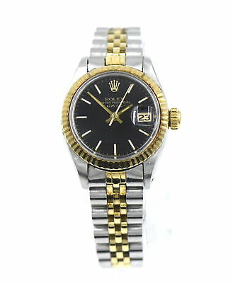 AU3003.10 • Buy Vintage Rolex 6917 Date Wristwatch Black Dial 14k Yellow Gold Stainless Steel